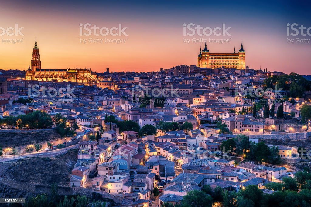 Aerial top view of Toledo, historical capital city of Spain stock photo