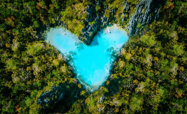 vista superior aérea do coração dado forma lagoa de turquesa dentro do console tropical. conceito das férias de verão do curso do amor - laguna - fotografias e filmes do acervo