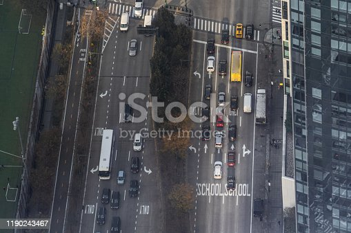istock Aerial top view of West Side Highway in New York City 1190243467