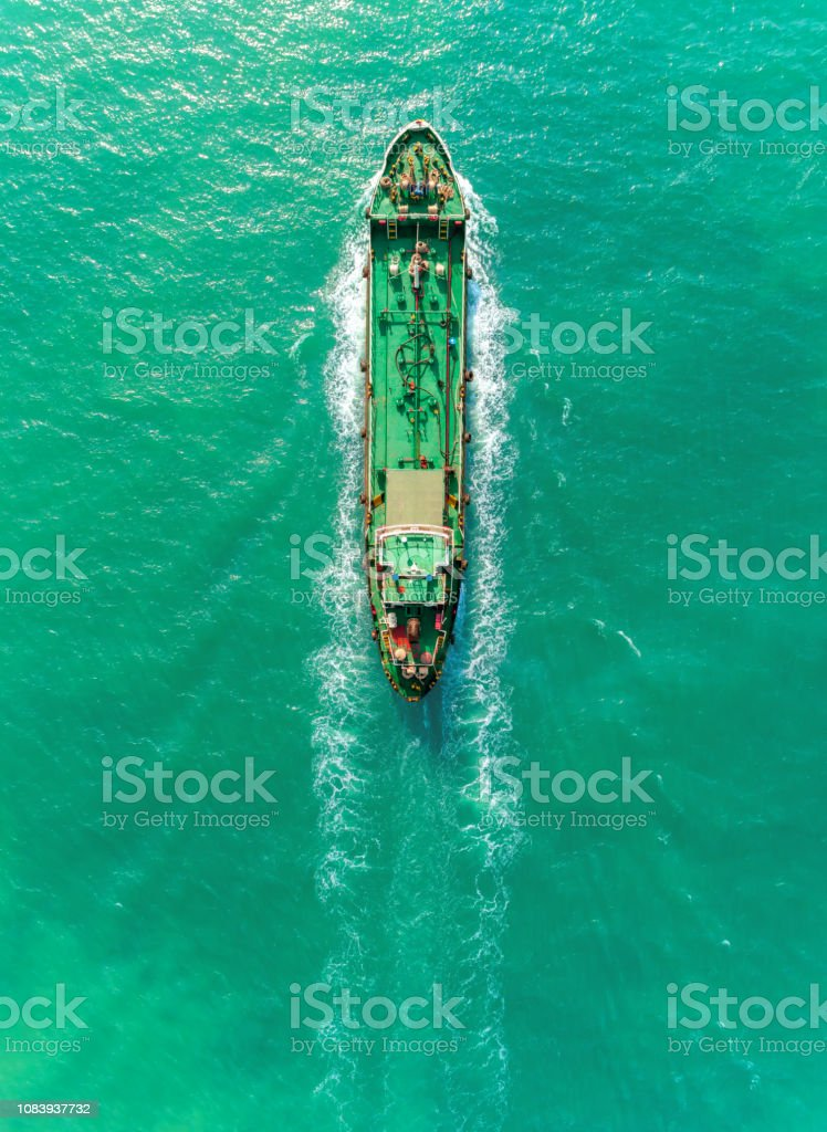 Aerial top view Oil ship tanker full speed transport oil or fuel from...