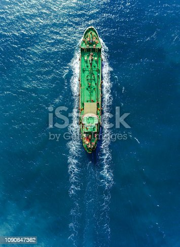 Aerial top view Oil ship tanker full speed transport oil or fuel from refinery on the sea.