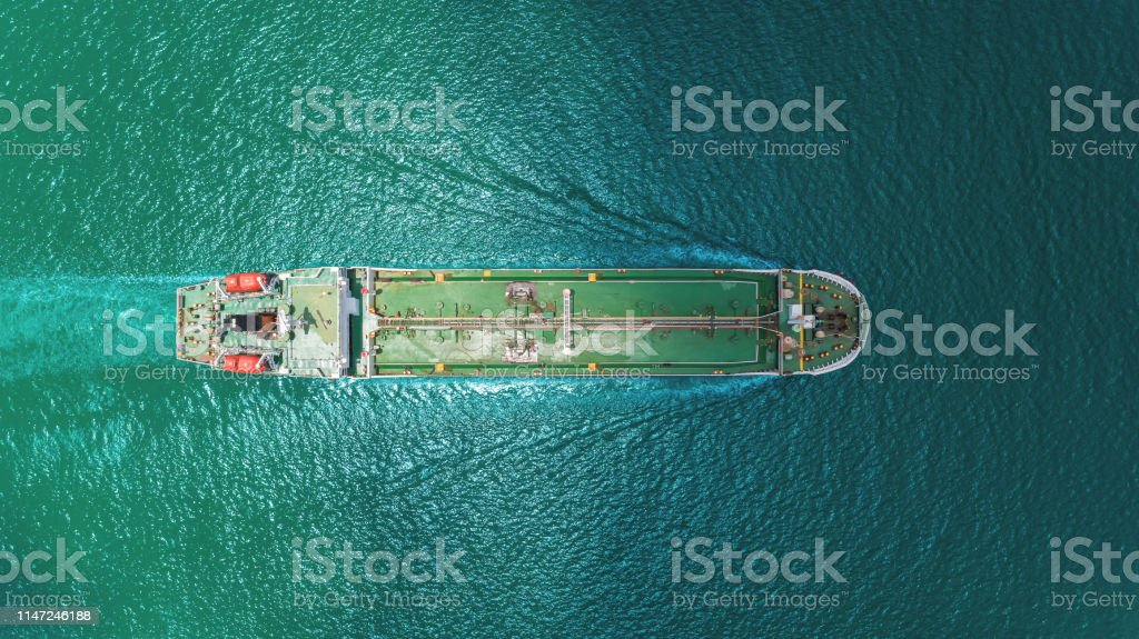 Aerial top view Oil ship tanker transportation oil from refinery on...