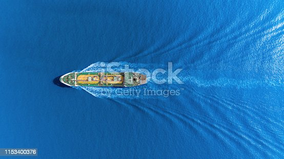 Aerial top view Oil ship tanker transportation oil from refinery on the sea.
