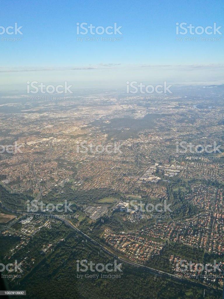Aerial topography scene from bird eye view of Brisbane Queensland regional area stock photo