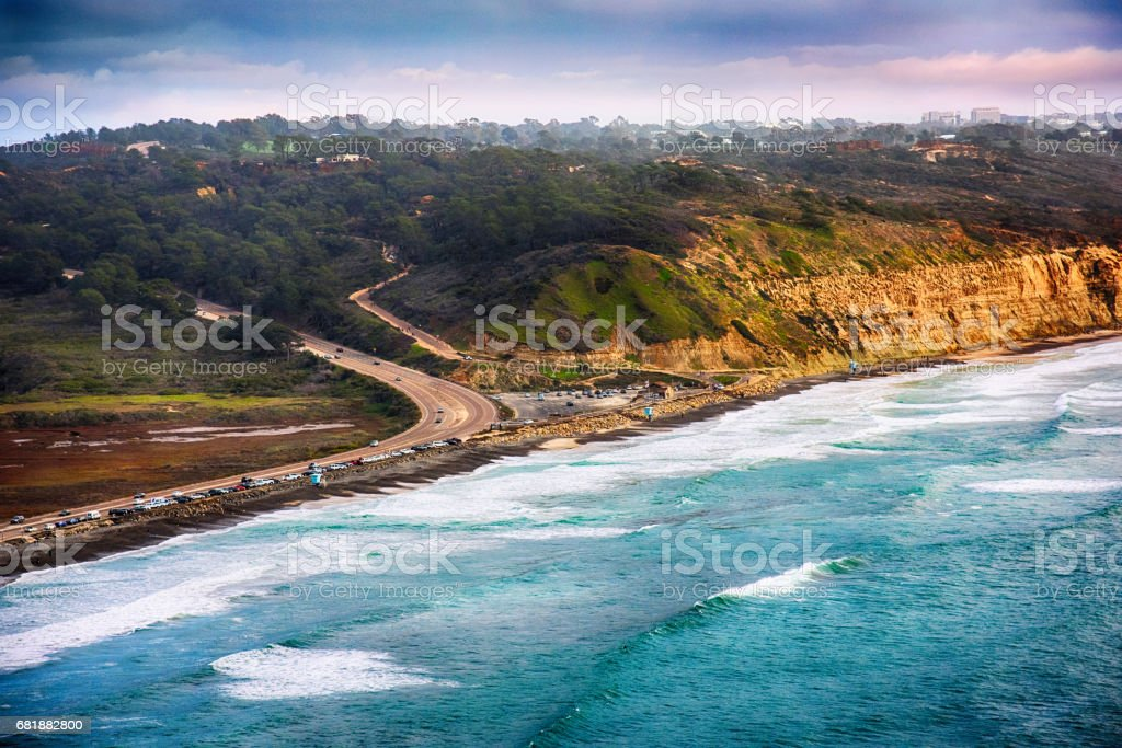 Aerial Torrey Pines State Park La Jolla stock photo