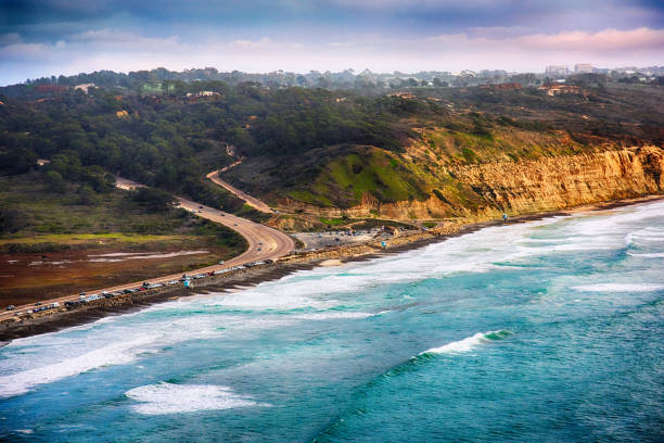 aerial torrey pines state park la jolla - nature reserve stock photos and pictures