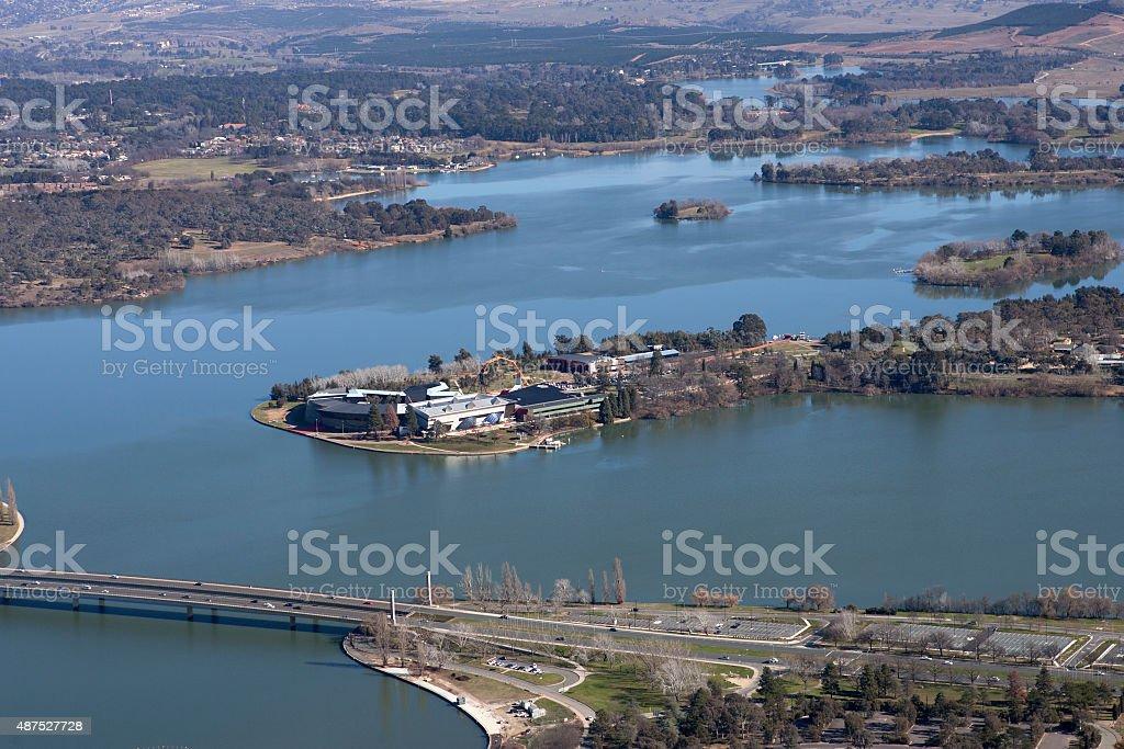 aerial towards National Museum of Australia stock photo