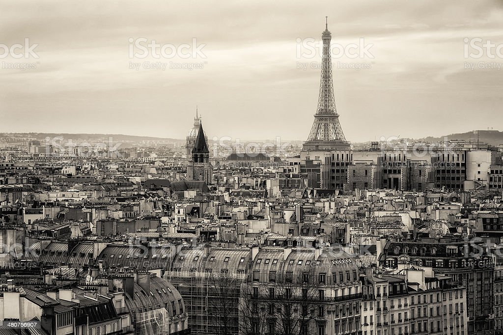 Aerial Traditional View of Paris with the Eiffel Tower. France stock photo