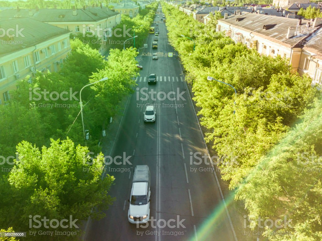 aerial traffic motion in the city, road between the trees royalty-free stock photo