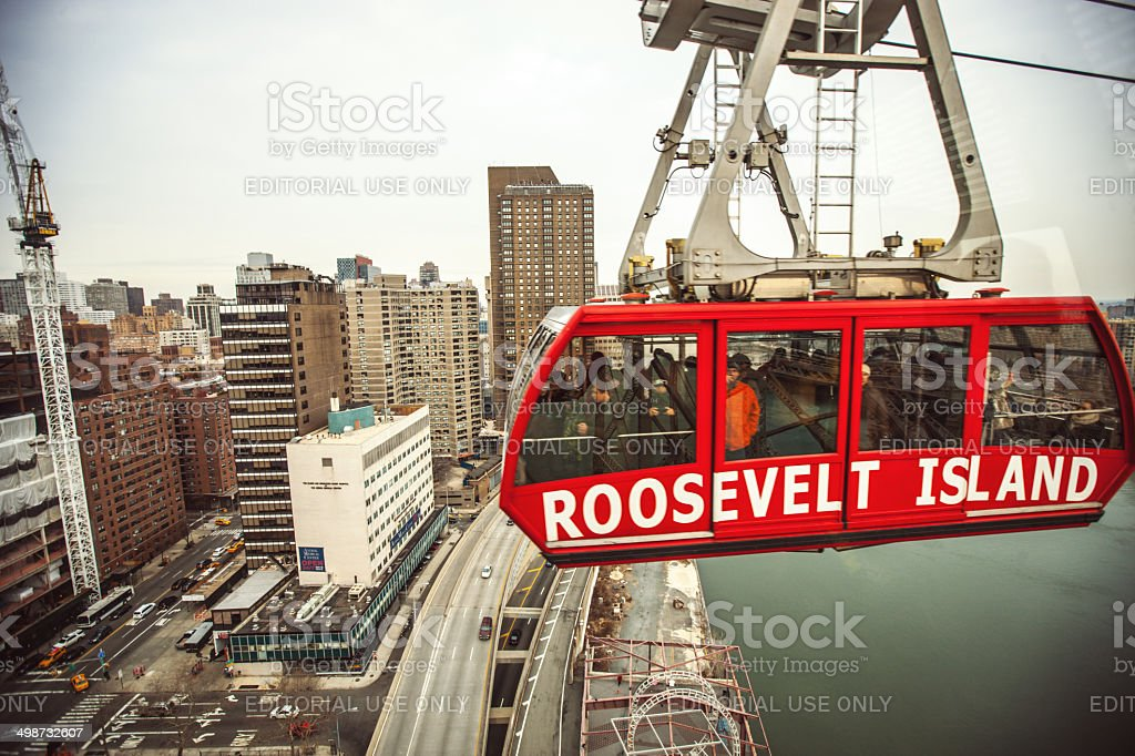 Aerial Tramway from Roosevelt Island to New York City stock photo