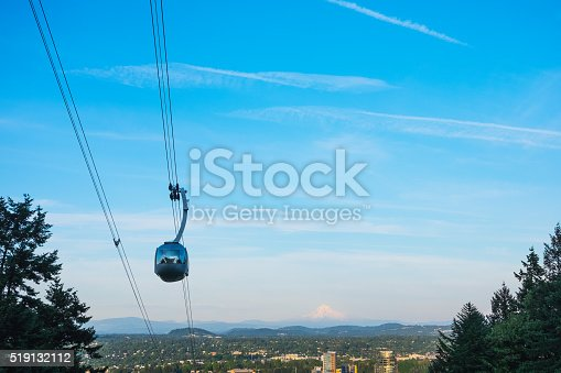 Aerial tramway, city of Portland in background.