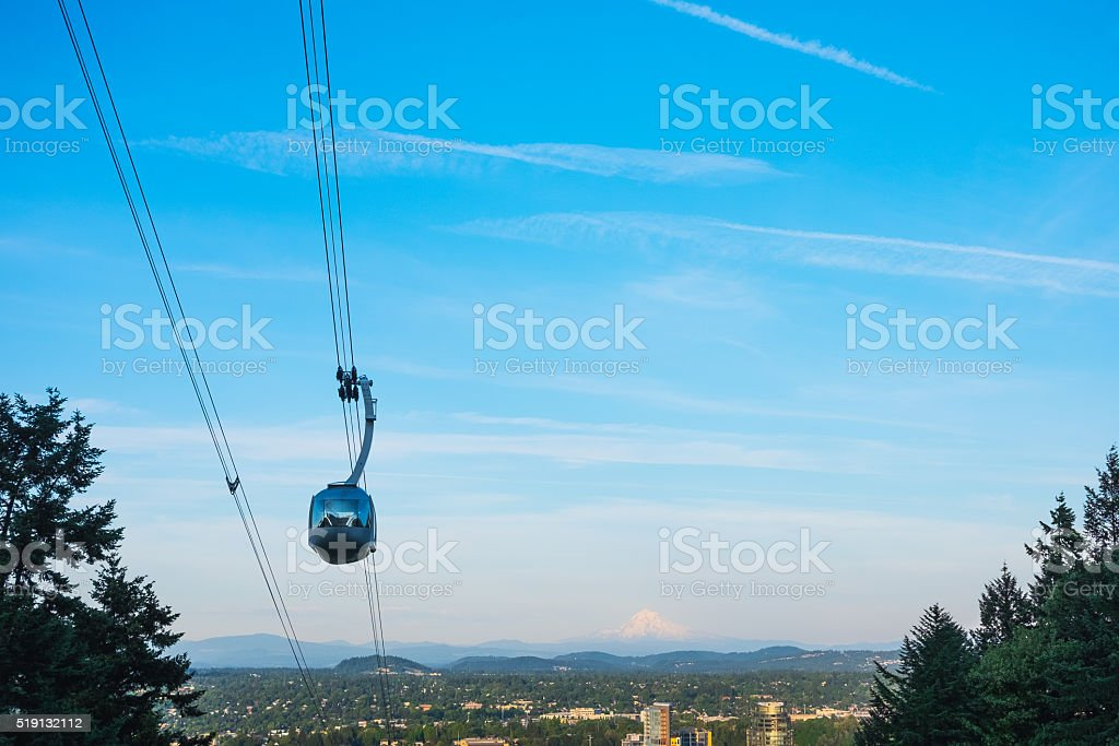 Aerial tramway in Portland, Oregon, USA. stock photo
