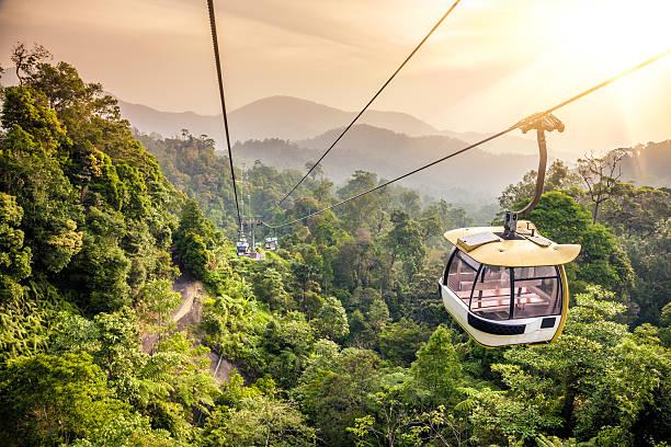 Aerial tramway bewegen sich im tropischen Dschungel-Gebirge – Foto