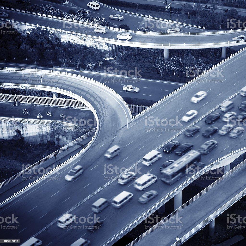 Aerial transport hub overpass stock photo