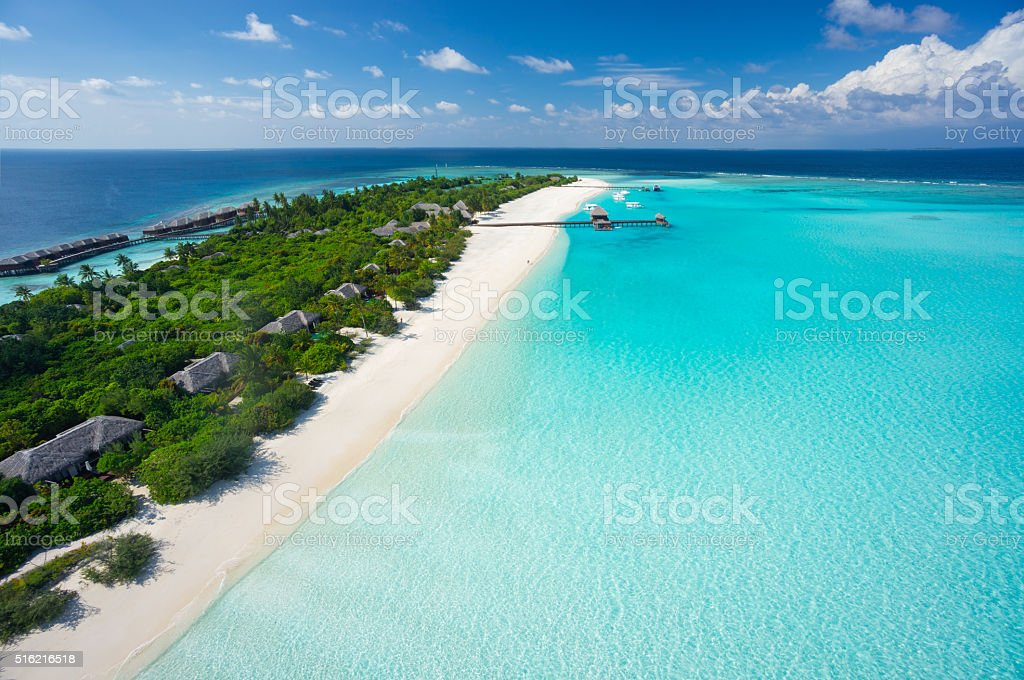 aerial tropical island resort and lagoon stock photo