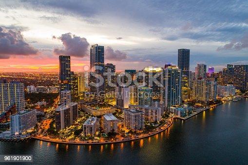 Aerial twilight in Brickell Miami