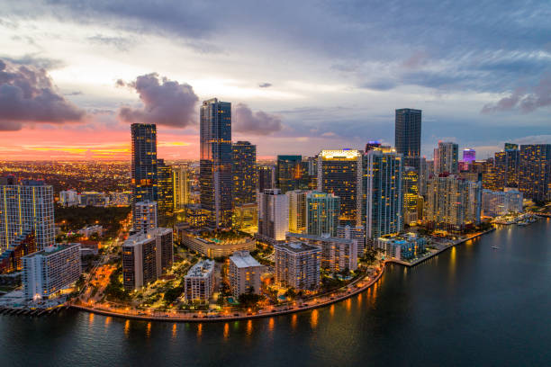 Aerial twilight Brickell Miami Florida USA stock photo