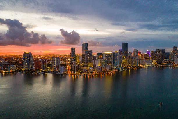 Aerial twilight Miami Brickell stock photo