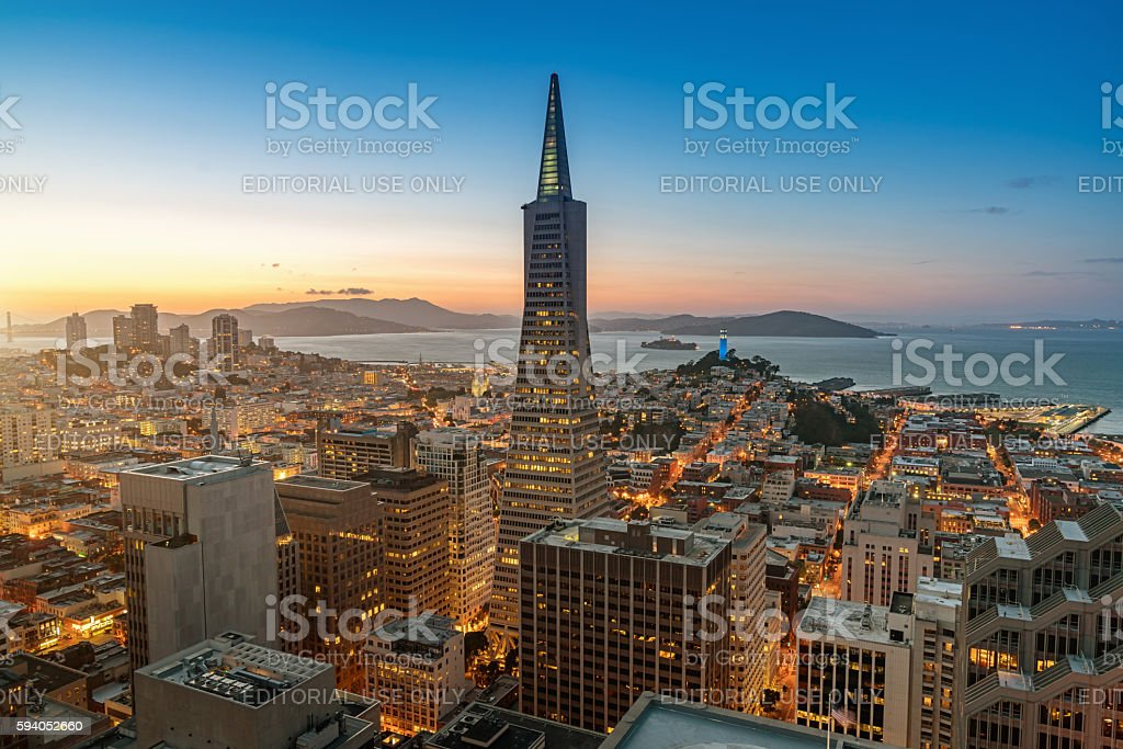 Aerial Twilight View Transamerica Pyramid San Francisco Cityscape stock photo