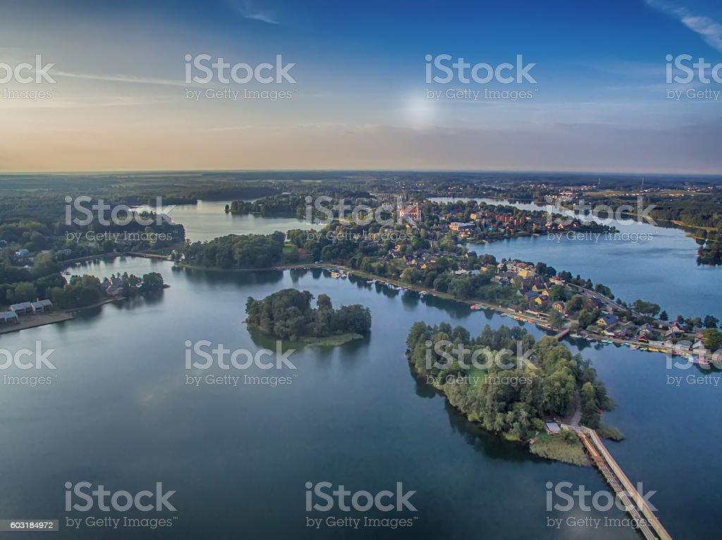 Aerial UAV top view of Trakai, Lithuania stock photo