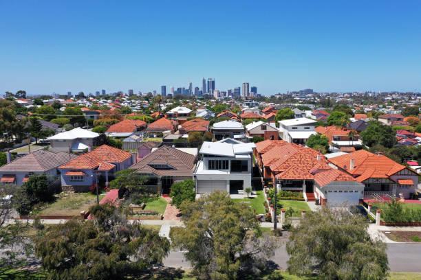 Aerial urban suburban cityscape in Perth stock photo