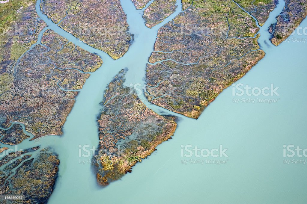 Aerial Vancouver - Fraser River in Richmond royalty-free stock photo