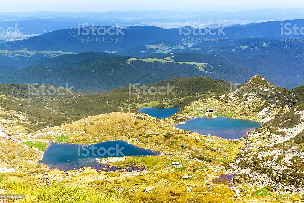 Aerial veiw of Seven Rila Lakes, Bulgaria stock photo