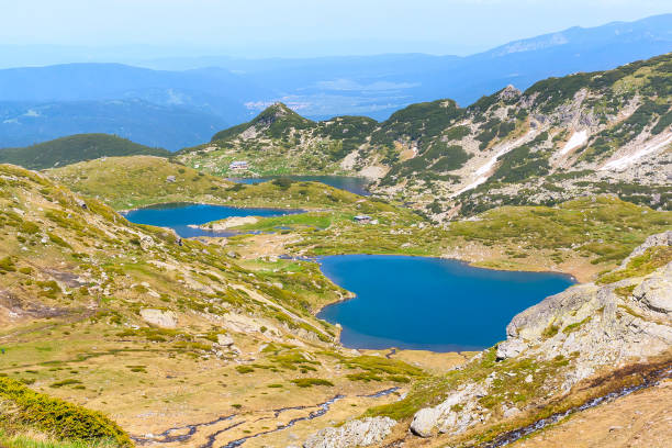 Aerial veiw of Seven Rila Lakes, Bulgaria stock photo