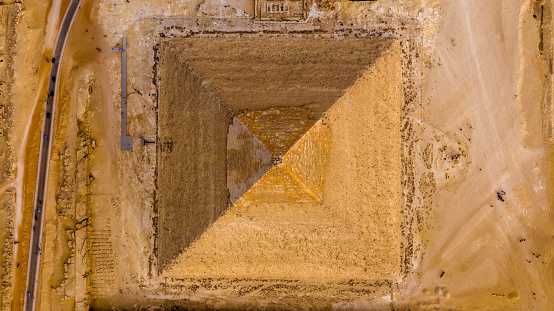 Aerial Vertical view of the pyramid of King Khafre, Giza pyramids landscape. historical egypt pyramids shot by drone.