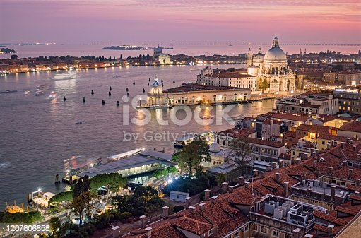 Twilight view of Venice Grand Canal