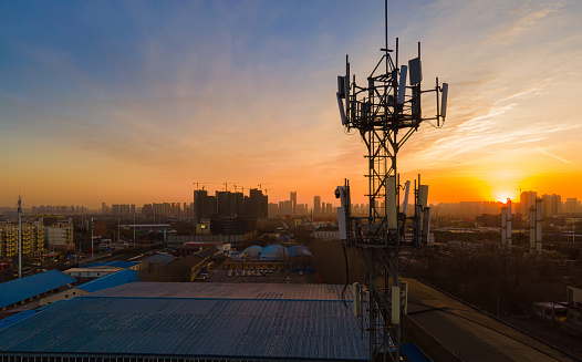 Aerial view 5G cellular communications tower