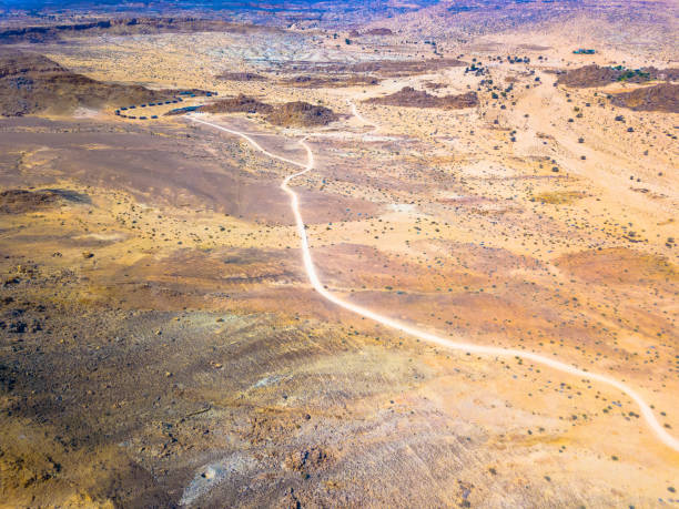 Aerial view: a gravel road through the Fish River Canyon, Namibia stock photo