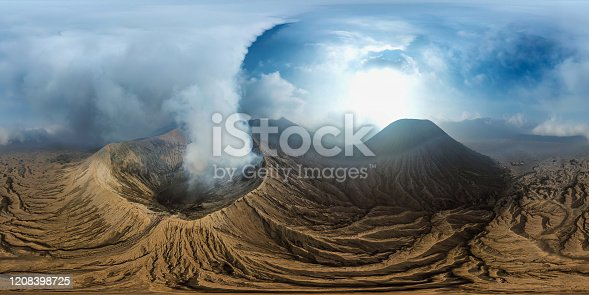 VR 360 Aerial View Above Bromo Volcano Landmark Nature Travel Place of Indonesia (Full Virtual Reality 360 Degree Panorama Seamless)