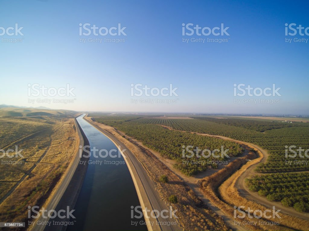 Aerial view above California aqueduct stock photo
