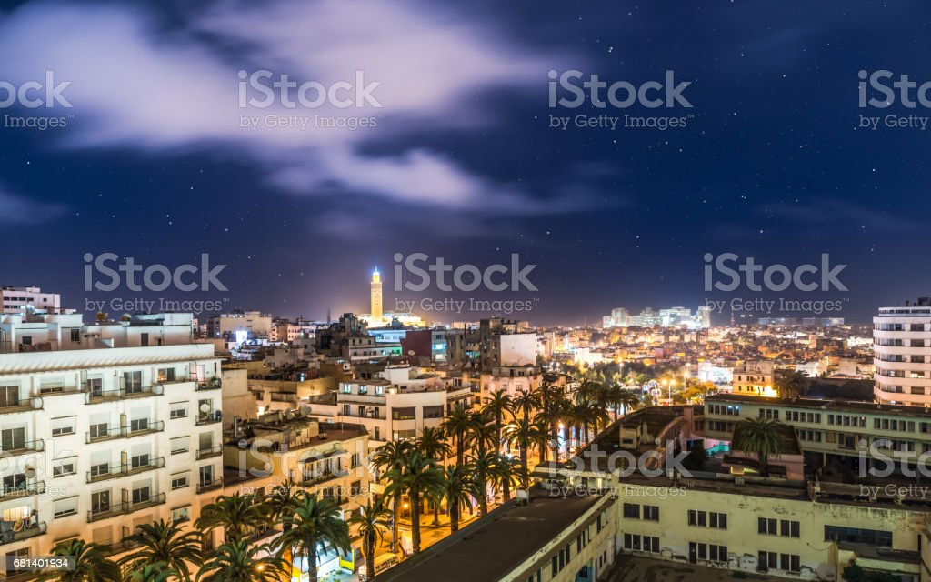 Aerial view above Casablanca durin night - Morocco stock photo