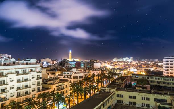 flygfoto över casablanca durin natt - marocko - rabat marocko bildbanksfoton och bilder