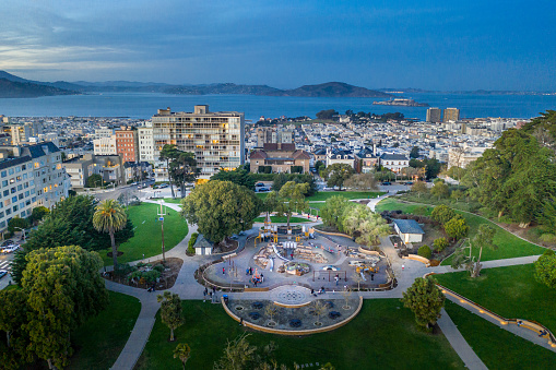 Aerial view above Lafayette Park in San Francisco at sunset. Looking out at the San Francisco Bay.