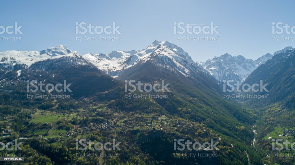Aerial View Above Mountain Village with Drone royalty-free stock photo