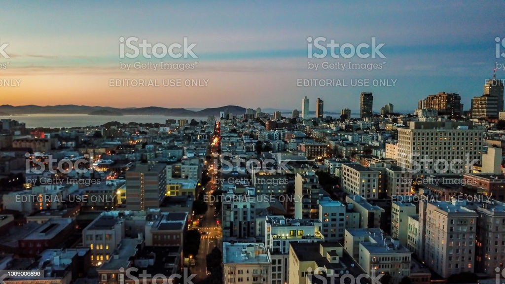 Aerial View Above the Tenderloin at Night stock photo
