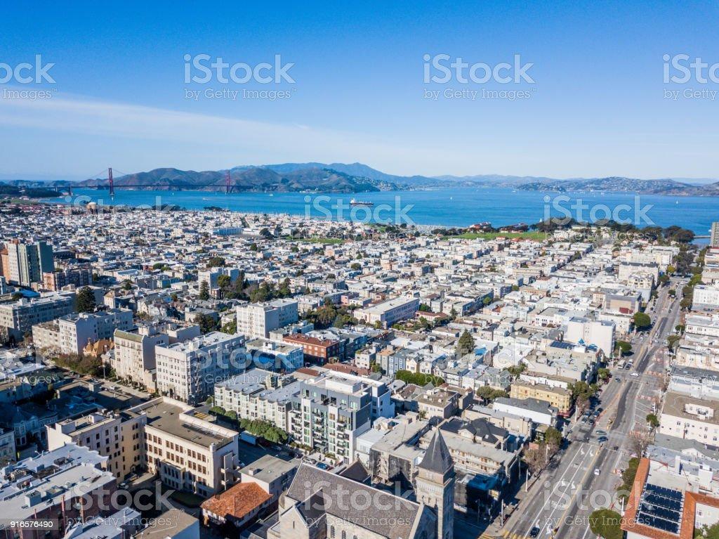 Aerial view Across San Francisco stock photo
