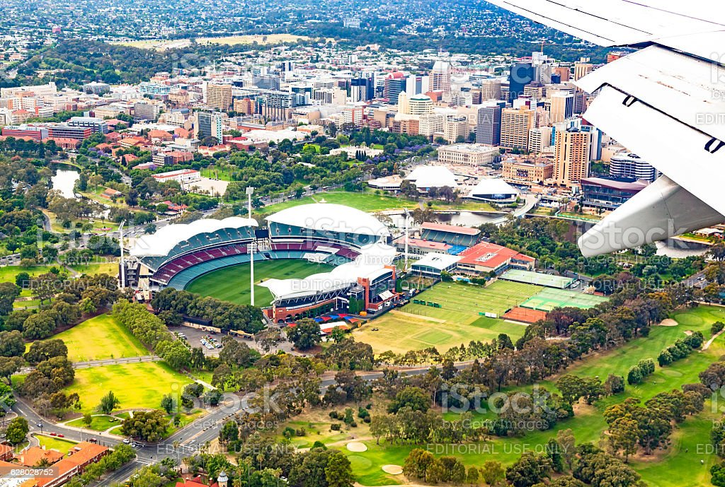Aerial view Adelaide Oval, Torrens River, city buildings, university stock photo