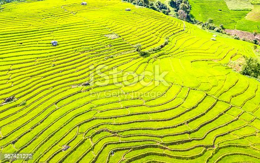 istock Aerial view amazing landscape rice terraces in Chiang Mai Thailand 957421272