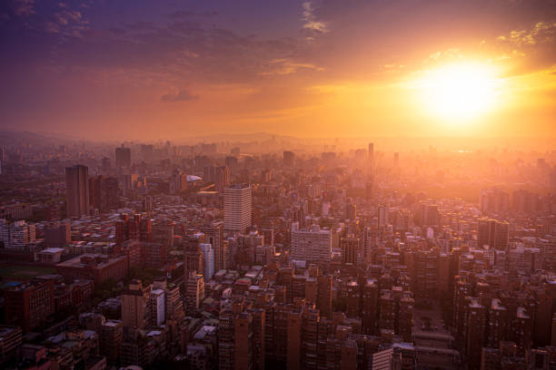 Aerial view and cityscape of Taipei, Taiwan at sunset stock photo