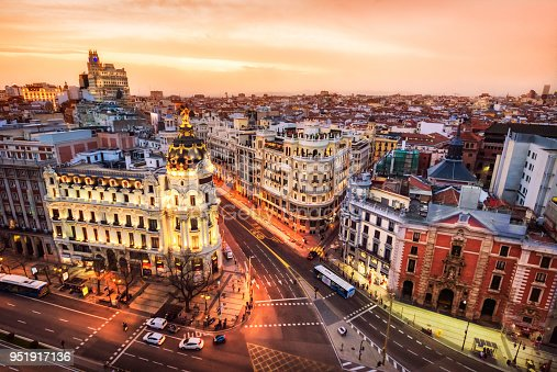 istock Aerial view and skyline of Madrid at dusk. Spain. Europe 951917136