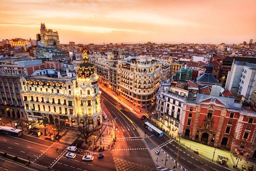 Aerial view of Gran Via in Madrid at dusk from Circulo de Bellas artes. Spain