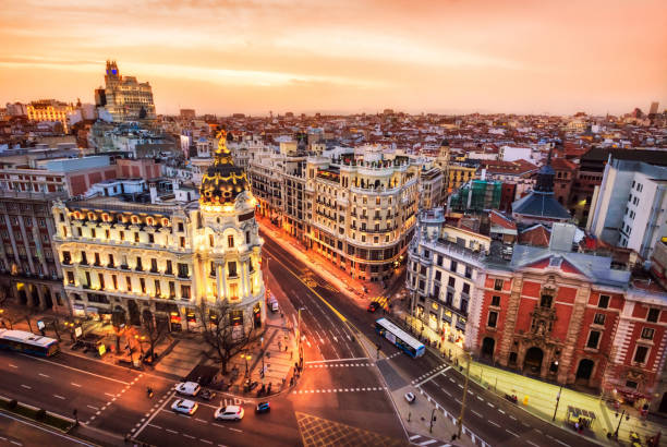 Aerial view and skyline of Madrid at dusk. Spain. Europe stock photo