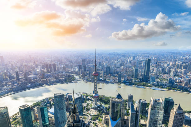 Aerial view and skyline of Shanghai cityscape Aerial view and skyline of Shanghai cityscape,China huangpu river stock pictures, royalty-free photos & images