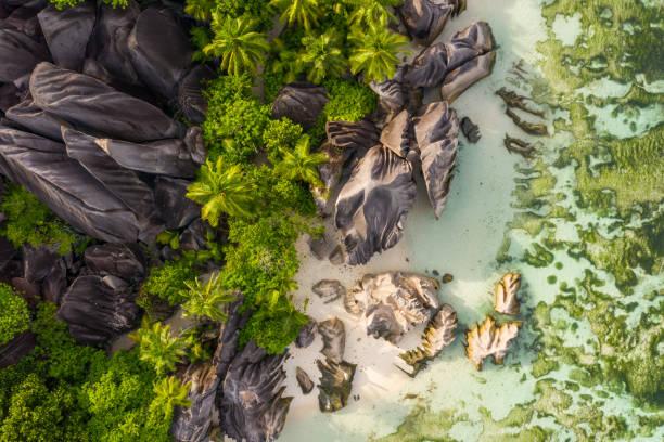항공 뷰 안 세 소스 d ´은 세계에서 가장 아름 다운 해변 - 세이셸 뉴스 사진 이미지