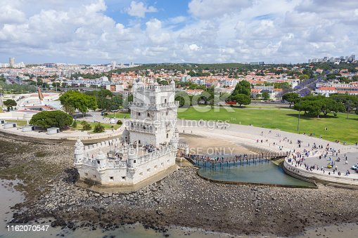 Lisbon, Portugal, June 5 2019: Plenty Tourists visit Belem Tower, which guarded Portugal in the medieval ages.