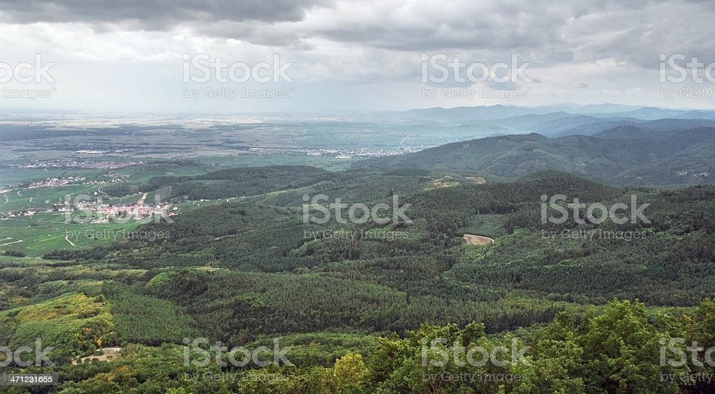 aerial view around Haut-Koenigsbourg Castle stock photo